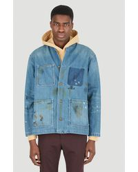 LIBERAIDERS Paint Splatter Coverall Jacket - Blue