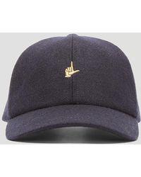Larose - Hand Logo Wool Baseball Cap In Navy - Lyst