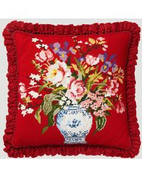 Gucci Flowers Vase Cushion In Red