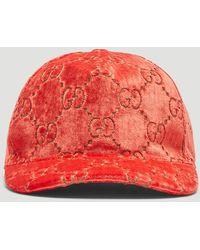 Gucci GG Velvet Baseball Cap - Red