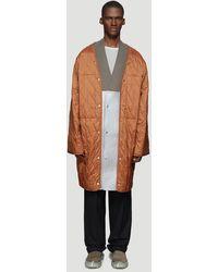 Rick Owens Quilted Liner Coat In Orange
