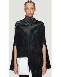 2 Moncler 1952 Ribbed Asymmetric Knit Sweater - Black