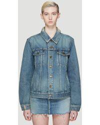 Saint Laurent Bandana Patch Denim Jacket In Blue