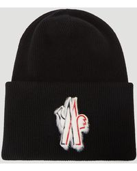3 MONCLER GRENOBLE Wool-knit Beanie Hat In Black