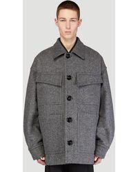 Bottega Veneta Felted Military Coat - Grey