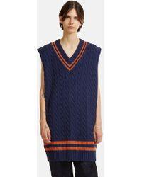 Maison Margiela - Oversized Cable Knit Vest In Blue - Lyst