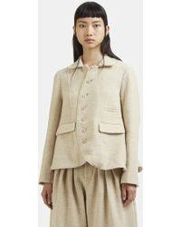 Renli Su - Short Woven Blazer Jacket In Beige - Lyst