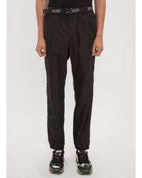 Valentino Vltn Belt Track Pants In Black