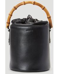 Jil Sander Bamboo Handle Bucket Bag In Black