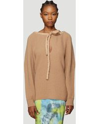 Stella McCartney Cold-shoulder Jumper In Beige - Natural