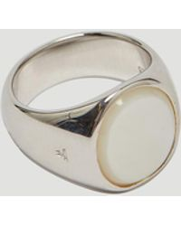 Tom Wood Oval Mother Of Pearl Signet In Silver - Metallic