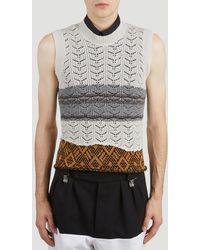 Raf Simons Contrast-knit Sleeveless Sweater - Grey