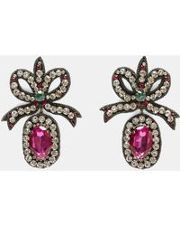 Gucci - Crystal- Embroidered Bow Earrings In Black And Pink - Lyst