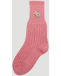 Gucci - Floral Embroidered Crochet Socks In Pink - Lyst