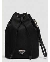 Prada Mini Nylon Bucket Bag - Black