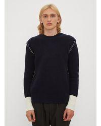 Valentino - Chunky Knit Stitch Jumper In Navy - Lyst