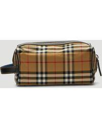 Burberry Vintage Check Wash Bag In Beige - Natural
