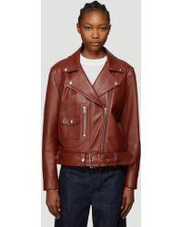 Acne Studios Merlyn Leather Jacket In Brown
