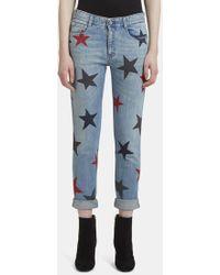 Stella McCartney - Star Printed Skinny Jeans In Blue - Lyst