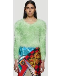 Marine Serre Fluffy Knitted Sweater In Green