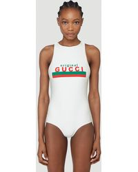 Gucci Logo Swimsuit - White