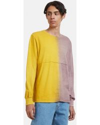 Eckhaus Latta - Two-tone Long Sleeve Lapped T-shirt In Yellow - Lyst