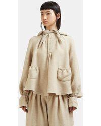 Renli Su - Drawstring Raglan Sleeve Hooded Jacket In Beige - Lyst