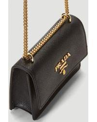 Prada Wallet Chain Shoulder Bag - Black