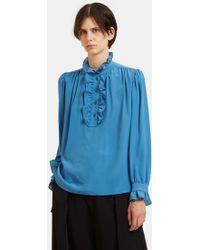 Stella McCartney - Ruffled Crêpe De Chine Shirt In Blue - Lyst