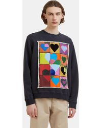 J.W. Anderson   Hearts Grid Sweater In Navy   Lyst