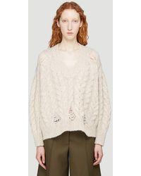 Stella McCartney Distressed-knit V-neck Jumper - Natural