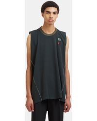 Lanvin - Embroidered Patch Gabardine Vest Top In Green - Lyst