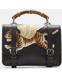 Gucci Bamboo Folder Tiger Embroidered Satchel Bag In Black Lyst