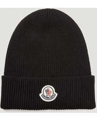 Moncler Logo-patch Beanie Hat - Black