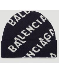 Balenciaga Intarsia-logo Beanie Hat - Blue