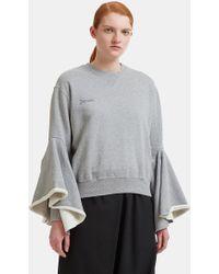 Facetasm - Ruffle Sleeve Jumper In Grey - Lyst