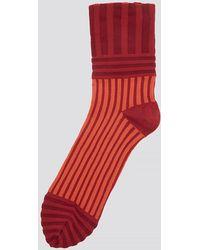 Issey Miyake - Striped Flower Socks In Red - Lyst