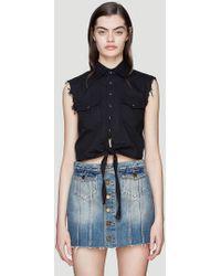 Saint Laurent Sleeveless Western Denim Shirt In Black