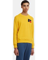 Russell Athletic - Eagle R Chenille Patch Sweater In Yellow - Lyst