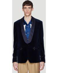 Gucci - Velvet Blazer Jacket In Navy - Lyst