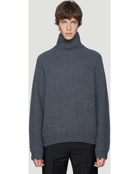 Acne Studios Ribbed Knit Turtleneck Sweater In Grey - Gray