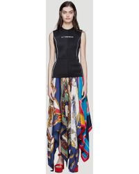 Marine Serre - Upcycled Scarf Gilet Long Dress In Black - Lyst