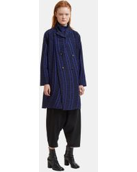 Issey Miyake - Skew Wrap-over Jacket In Blue And Black - Lyst