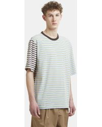 Marni - Striped Patchwork T-shirt In Blue - Lyst