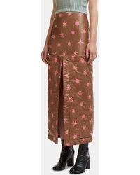 Eckhaus Latta - Floral Button-on Blanket Mini Skirt In Brown - Lyst