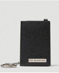 Balenciaga Plate Vertical Wallet With Chain - Black