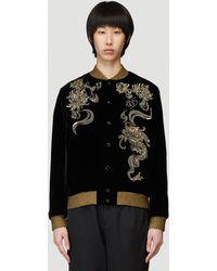 Saint Laurent Embroidered Teddy Jacket - Black
