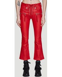 Unravel Project Lace-up Flared Leather Trousers