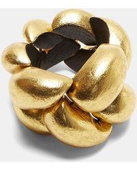Monies - 24946 Painted Ebony Pebble Braided Bracelet In Gold - Lyst