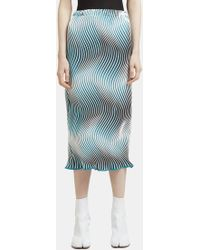 Issey Miyake Lettuce Hem Flow Pencil Skirt In Blue